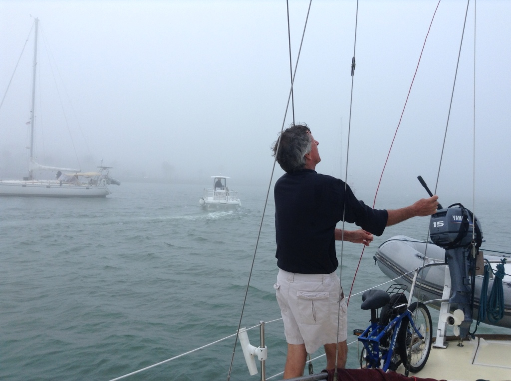 foggy day on the boat